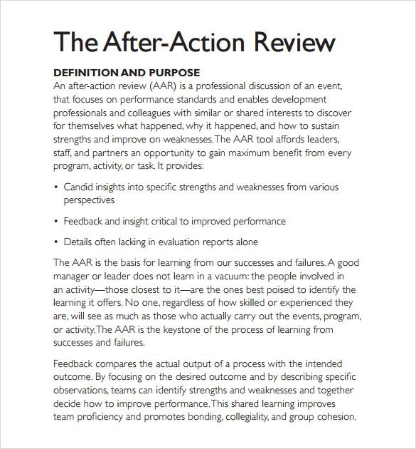 Sample After Action Review Template 7 Documents in PDF Word – After Action Review Template
