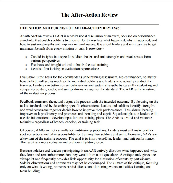 After Action Review Templates Download for Free