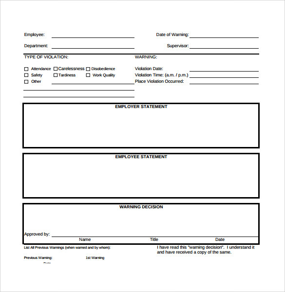 Sample Employee Write Up Form   Documents In Pdf