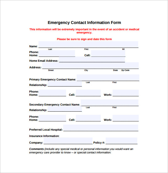 12 sample emergency contact forms to download sample templates