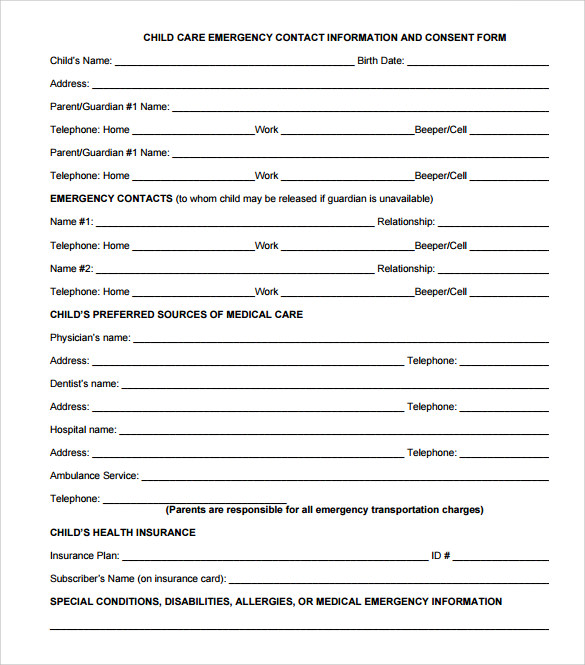 12 sample emergency contact forms to download sample for Emergency contact form template for child