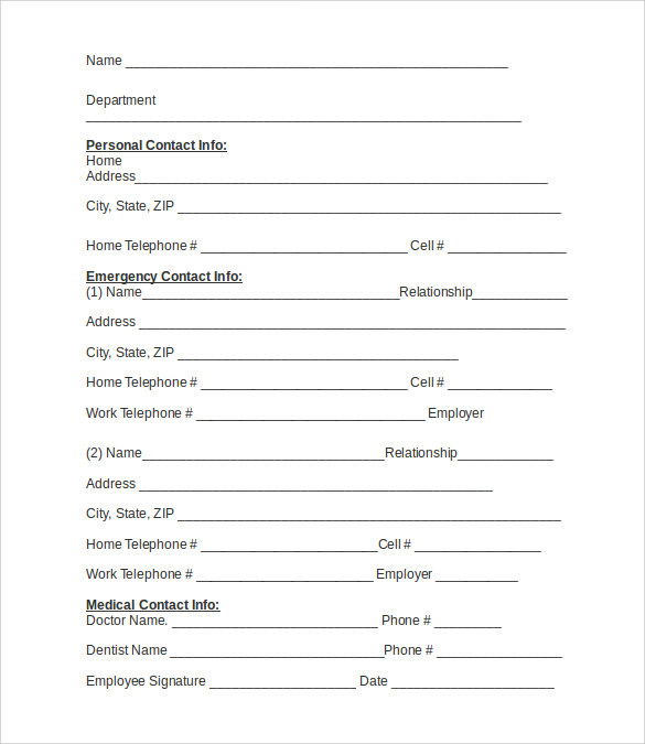 Emergency Contact Forms 11 Download Free Documents in PDF Word – Employee Information Form Sample