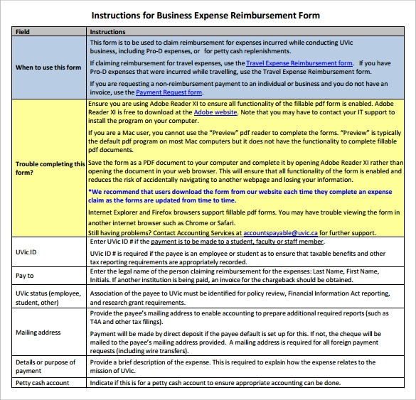 business expense reimbursement form