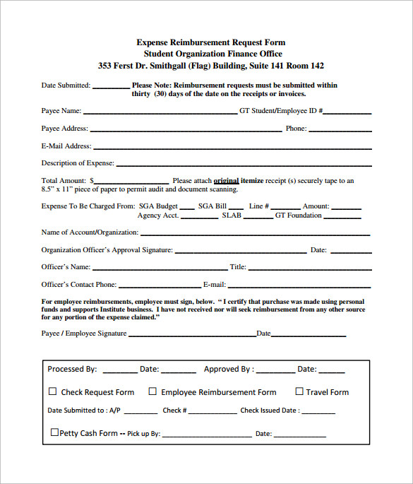 expense reimbursement form pdf