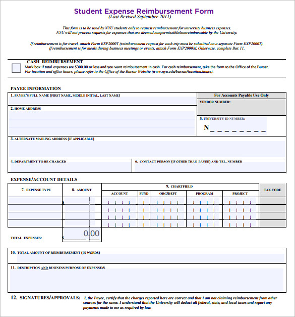 student expense reimbursement form