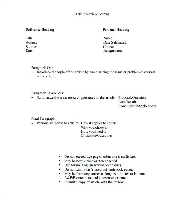 Article Review Template Vosvetenet – Article Summary Template
