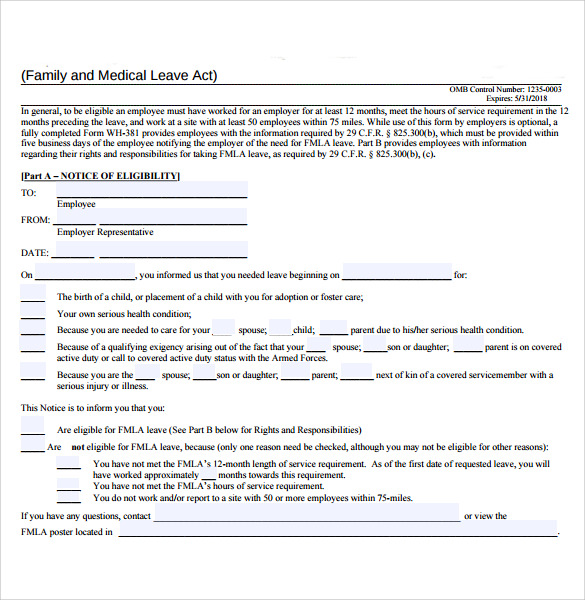 image relating to Fmla Printable Forms known as Pattern FMLA Style - 10+ Absolutely free Files in just PDF