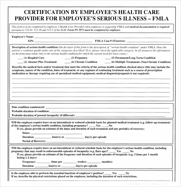 Sample Fmla Form   Free Documents In Pdf
