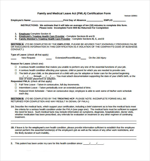 picture relating to Fmla Printable Forms referred to as Pattern FMLA Variety - 10+ Absolutely free Information within PDF
