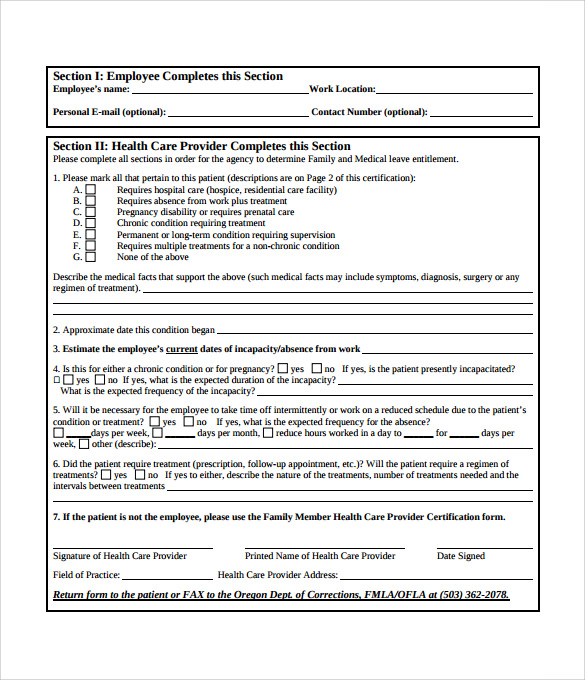 11 Fmla Forms Sample Templates