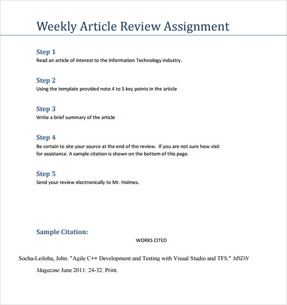 Sample Article Review Template - 6+ Documents In Pdf , Word