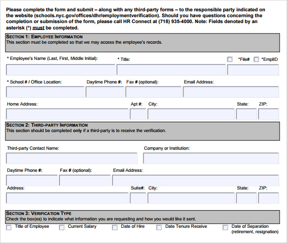Lovely Employment Verification Form Template Idea Employment Verification Form Sample