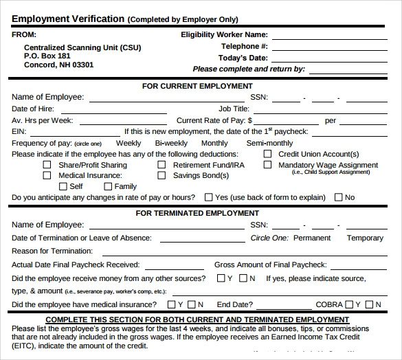 Employment Verification Form   Download Documents In Pdf