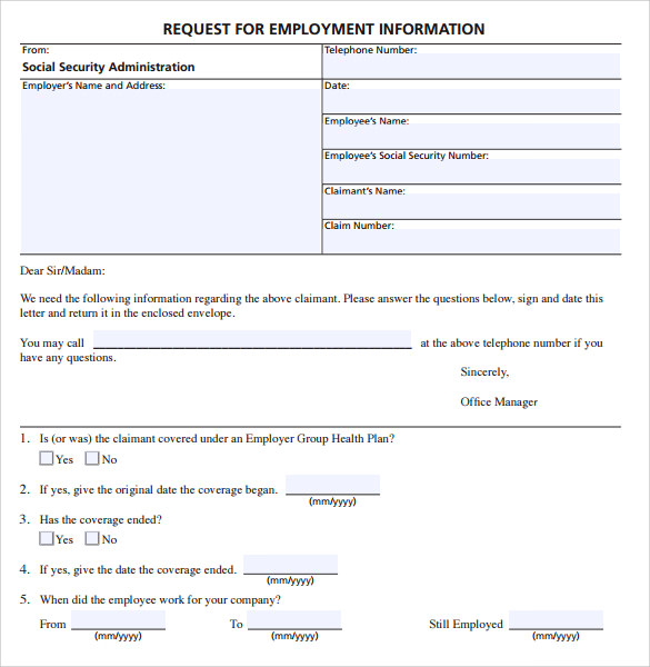 employe verification form in pdf download