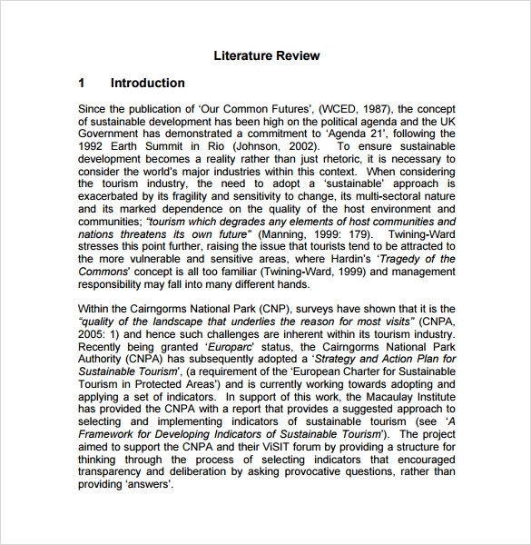 Examples Of Literature Review Outlines Advantages Of Selecting