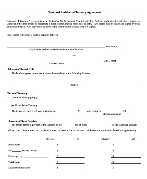 6 sample house lease agreements sample templates for Standard tenancy agreement template