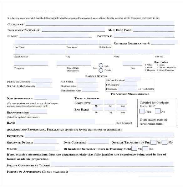simple employement authorization form