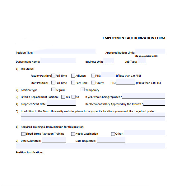 Employment Authorization Forms 8 Download Free Documents In PDF – Sample Employment Authorization Form
