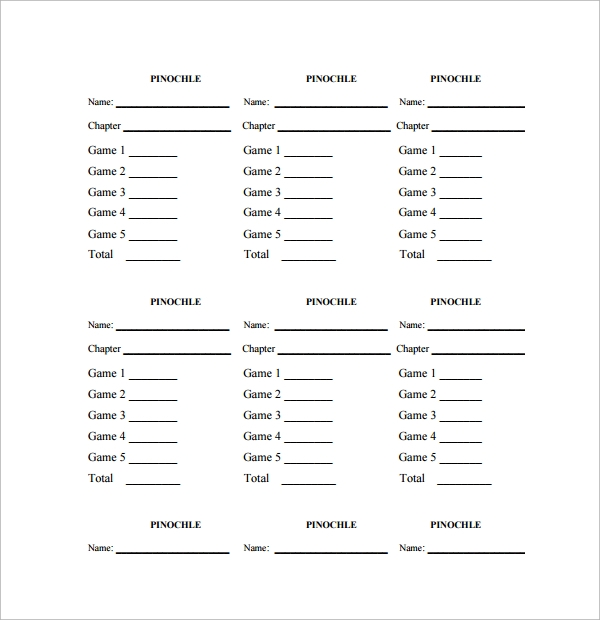 Sample Pinochle Score Sheet   Examples  Format