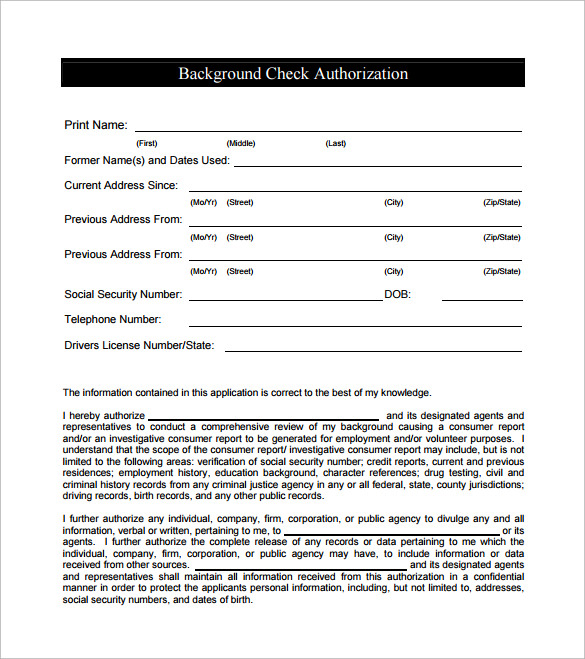 Attractive Sample Background Check Form