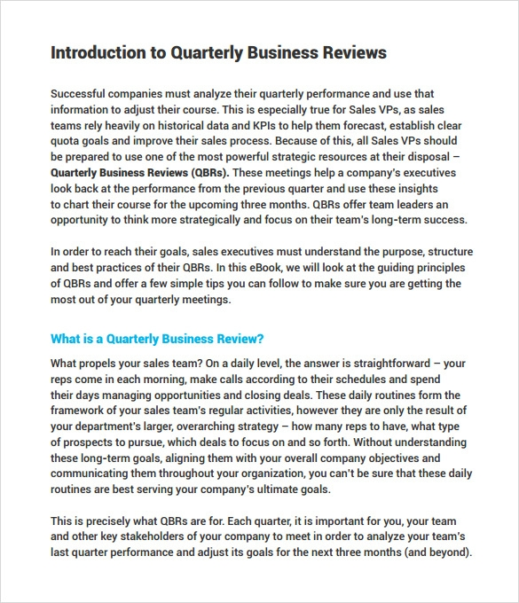 business review template sample