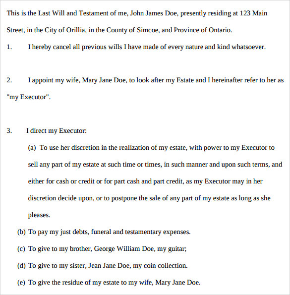 declaration of last will and testament