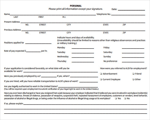 Employment Application Form 8 Download Free Documents in PDF – Employee Application