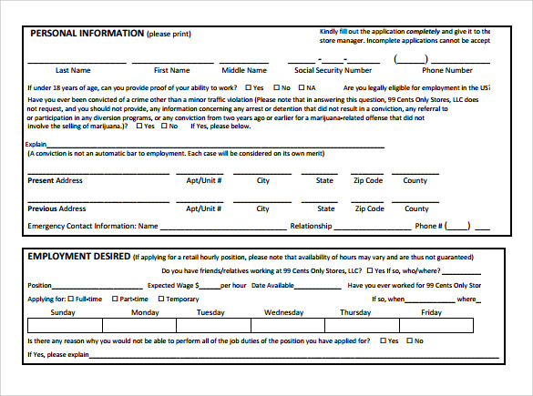 Employment Application Form - 8+ Download Free Documents In Pdf