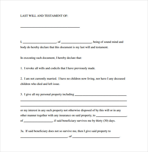 7 sample last will and testament forms to download for Easy last will and testament free template