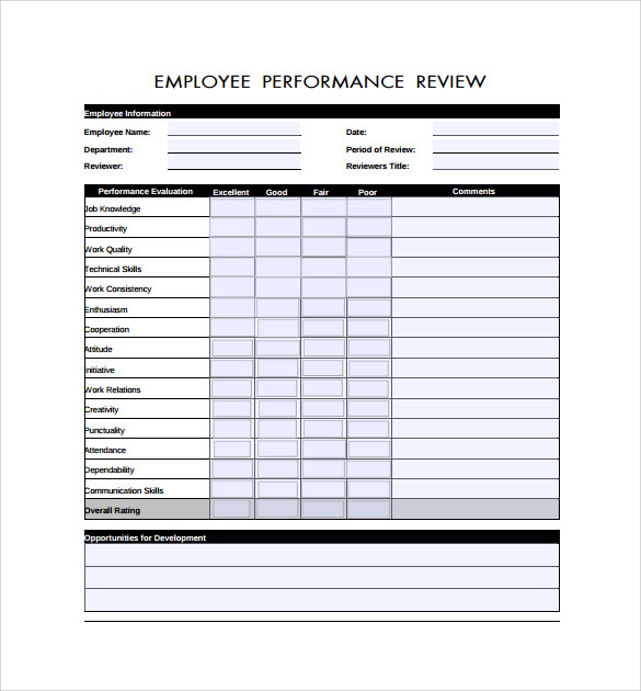 Good Example For Employee Review Form Throughout Employee Review Form Free Download