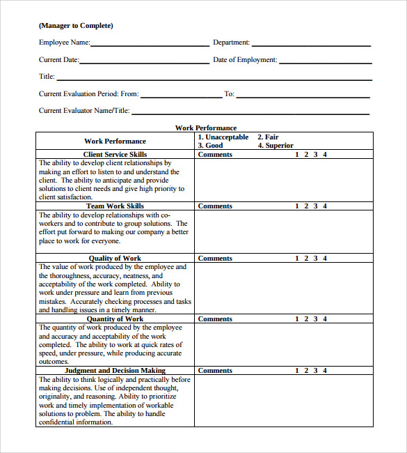 Employee Review Forms 6 Download Free Documents In PDF – Employee Review Forms