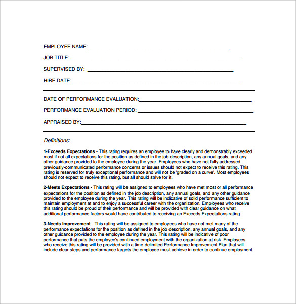 Employee Evaluation Forms Sample  MayotteOccasionsCo