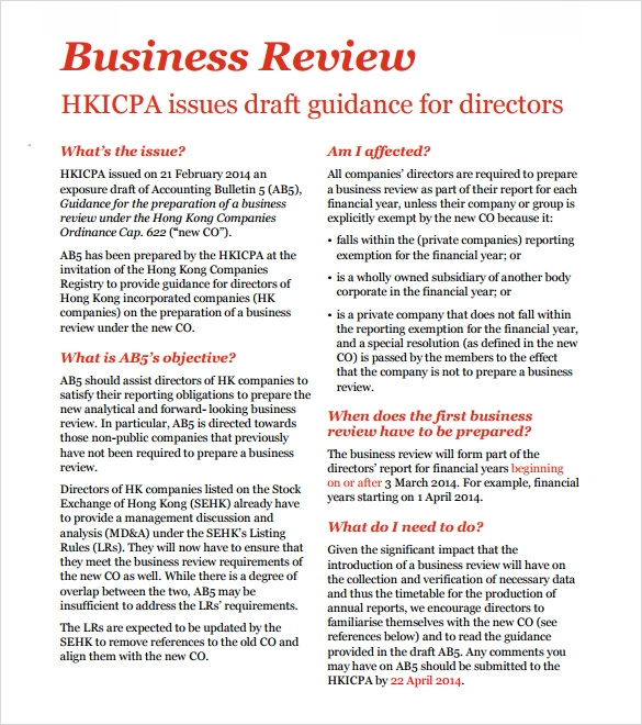 Sample Business Review   Documents In Pdf Word