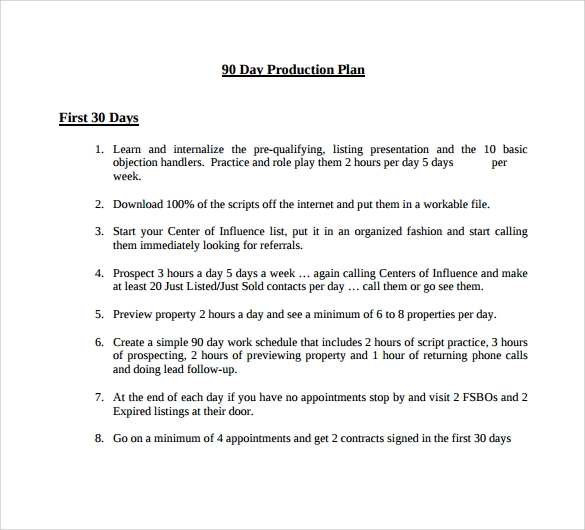 90 day production plan