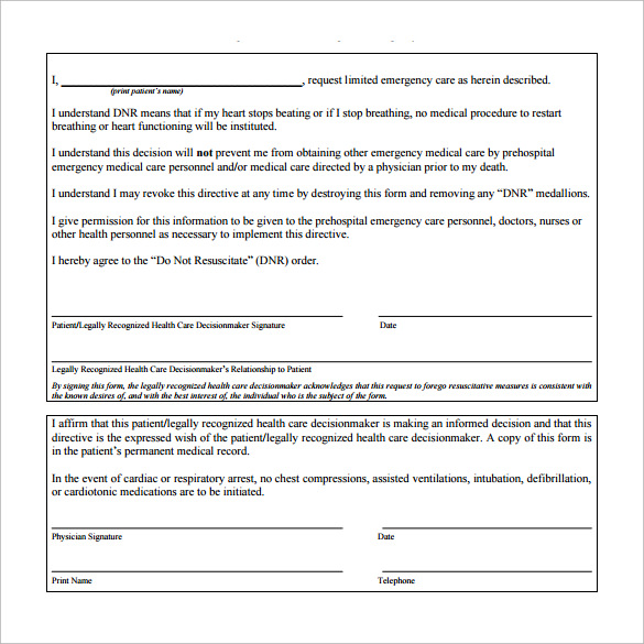 Do Not Resuscitate Forms   Download Free Documents In Pdf  Word