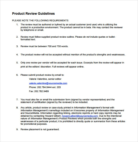 Product review template 7 download documents in pdf for Product review template wordpress