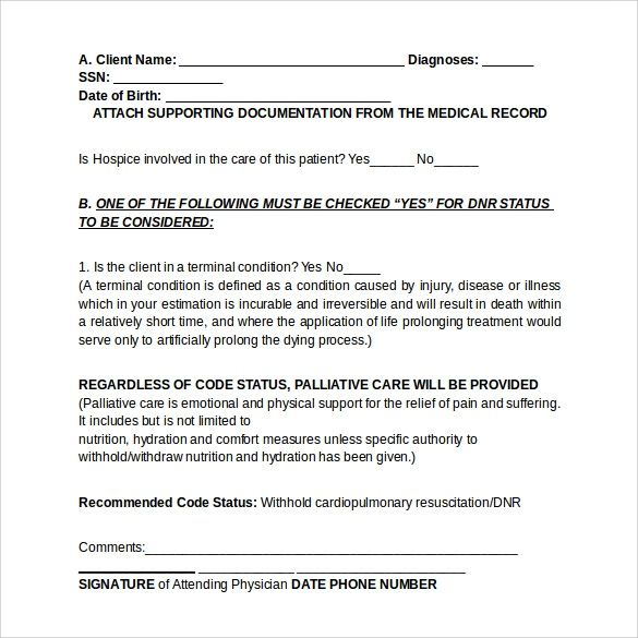 Do Not Resuscitate Forms 9 Download Free Documents In
