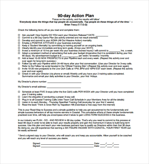 12 sample 90 day plan templates sample templates for 100 day action plan template document example