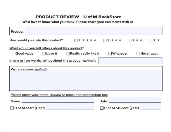 Sample Product Review Template   Documents In Pdf  Word