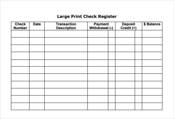 Sample Check Register 6 Documents in PDF Word – Check Registers