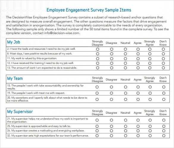Employee Engagement Survey Template Sample Employment Engagement