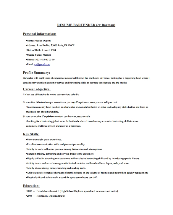 Sample Bartender Resume Template   Download Free Documents In