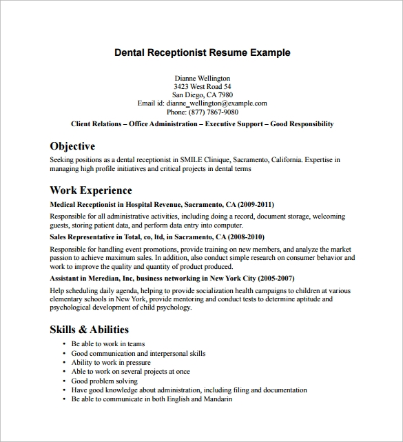 Sample Receptionist Resume   Download Free Documents In Pdf Word
