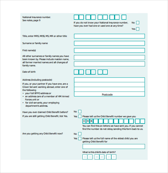 child benefit forms