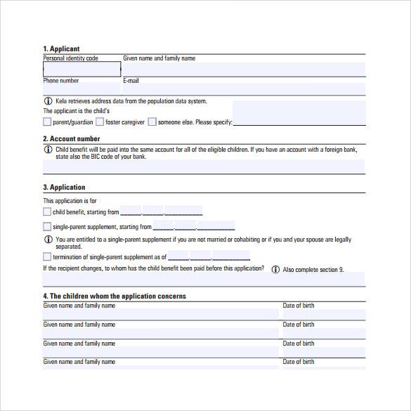 child application benifit form