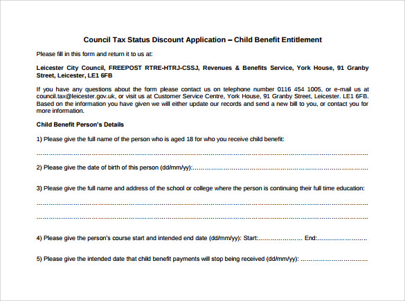 Sample Child Benefit Form 6 Download Free Documents in PDF – Child Benefit Form
