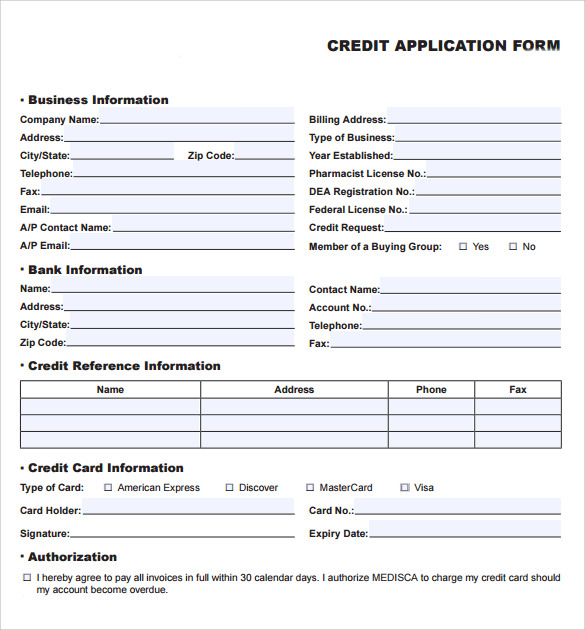 Credit Application Forms   Documents Free Download In Pdf Word