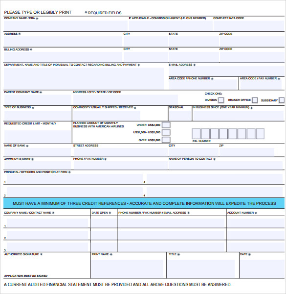 Sample Business Credit Application Form  BesikEightyCo