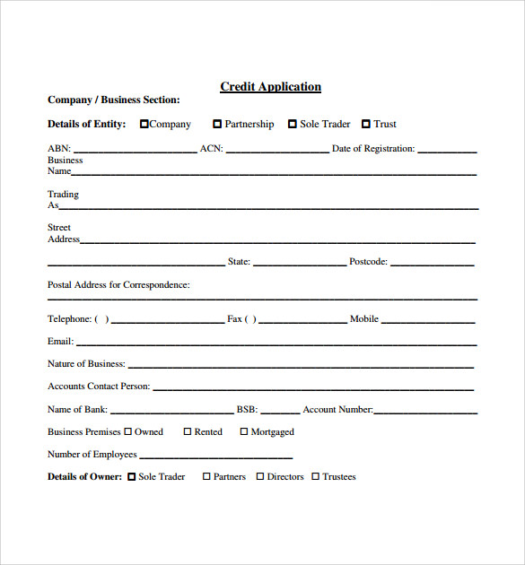 10 credit application forms to download sample templates for Credit applications templates