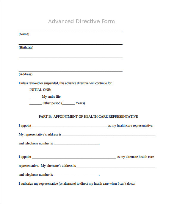 Advance directive form 9 download free documents in pdf for Advanced directive template